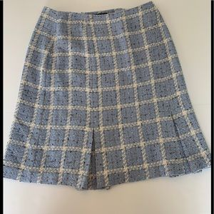 Requirements blue plaid acrylic kick pleat skirt